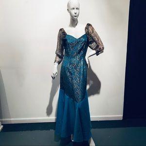 ATLANTIS Vintage 80s Blk/Gold/Blue Formal Dress M